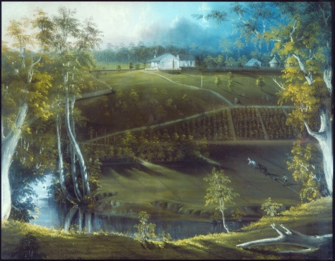 YALLAMBEE by George Alexander Gilbert, c1850, elevated view of river, vineyard on side of hill rising from the river and house at crest of hill.