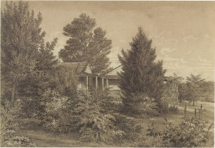 The Station Plenty, (Yallambie) view II by Edward La Trobe Bateman 1853-1856. Detailed view of house and verandah, (National Gallery of Victoria Collection).