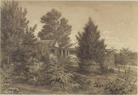 The Station Plenty, (Yallambie) view II by Edward La Trobe Bateman 1853-1856. Detailed view of house and verandah.