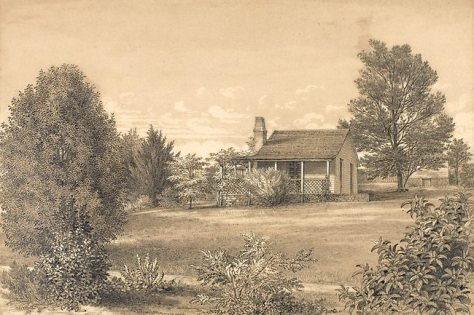 The Station Plenty, (Yallambie) view III by Edward La Trobe Bateman 1853-1856. House with lattice-work verandah and garden.