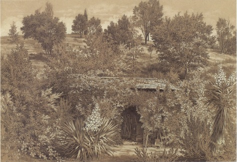 The Station Plenty, (Yallambie) view IX by Edward La Trobe Bateman 1853-1856. Gardening shed.