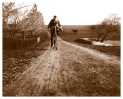 Young Harry Wragge and his bicycle on the road to Yallambie, c1895, (Bill Bush Collection).