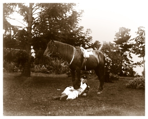 Early picture with riding habit taken on the south lawn at Yallambie, (Bill Bush Collection).