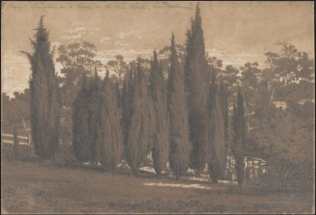 Private cemetery in a garden, probably Yallambie, by E L Bateman, (Rex Nan Kivell Collection, National Library of Australia).