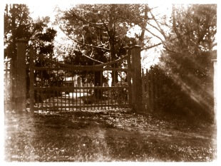 Main gate at Yallambie, c1900, (Bill Bush Collection).