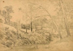 E L Bateman's pencil study for View XII in his Plenty Station series, (National Gallery of Victoria Collection).