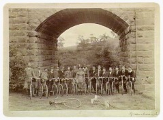 Cheltenham Cycle Club under the old Main Rd Bridge, Greensborough, 1897, (Pictures Collection, State Library of Victoria).