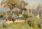 Spring on the Lower Plenty Road, Heidelberg, (the Plenty Bridge Hotel), 1907, by Walter Withers. (Source: National Gallery of Victoria Collection)